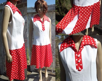 Linda Original Dress, Vintage Polyester, Orange and White, Mod Dress, Size Small, 36 Inch Bust, Drop Waist, Wide Collar, Polka Dots