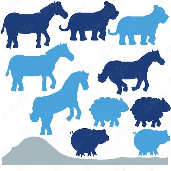 Noah's Ark Digital Clipart (Blue Tones Silhouette Version