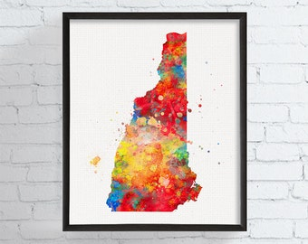 New Hampshire State - New Hampshire Map - Watercolor Map - New Hampshire Poster - State Wall Decor - New Hampshire Art Print, Watercolor Art