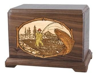 Walnut Trout Stream Fishing Hampton Wood Cremation Urn