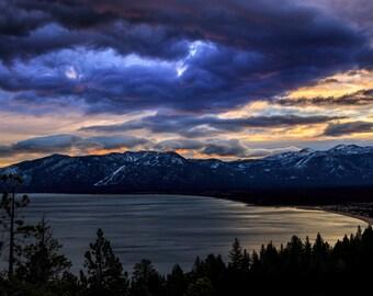 Lake Tahoe Photography, Sunrise Photograph, California, Nevada, Clouds, Sunset, Heavenly Valley, Wall Decor, Emerald Bay Fine Art Photograph