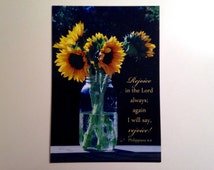 """Sunflower Bouquet Magnet 3 1/2 x 5 Flexible Refrigerator Magnet with Philippians 4 4 """"Rejoice in the Lord always"""" Christian kitchen decor"""