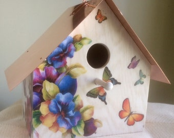 Butterflies and Pansies, Copper Roofed Birdhouse