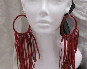 """Earrings Beautiful Red Leather Suede Fringe Hoop Earrings 9"""" Long (#8)"""