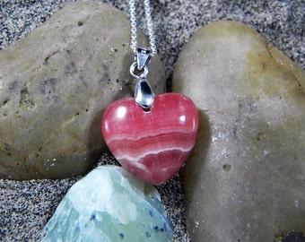Rhodocrosite Heart Pendant on Sterling Silver Chain -8