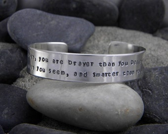 Pooh quote bracelet - Remember you are braver than you believe stronger than you seem...