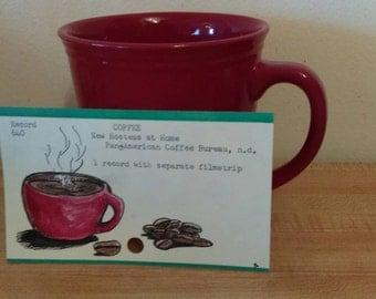 Dewey Decimal Vintage Library Card Catalog Filmstrip Card with Illustration. Coffee. Mixed Media Artwork.