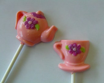Teatime-Tea Pot and Tea Cup Lollipops(12)-Perfect for Alice in Wonderland Theme Parties/Beauty and The Beast/Tea Parties/Mother's Day Gift