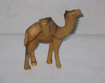 Vintage hand carved wood camel figurine