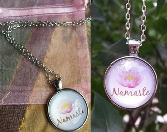Namaste with Lotus Glass Cabochon Necklace