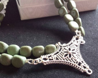 Sale - Forest Green Serpentine Necklace with Quartz Crystals, Beaded, Statement Necklace