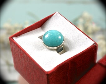 Amazonite sterling silver ring 7.25-7.5 US size