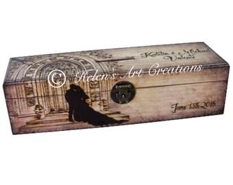 Engraved Wine Box, Custom Engraved Box, Wedding Wine Box, Personalized Wine Box, Castle, Wedding Keepsake Box, Time Capsule, Heirloom