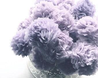 Dusky Dusty Purple Mauve Tissue Paper Pom Pom Flower Wooden Sticks Vintage Lilac Lavender Table Decorations Centrepiece Flowers (Set of 12)