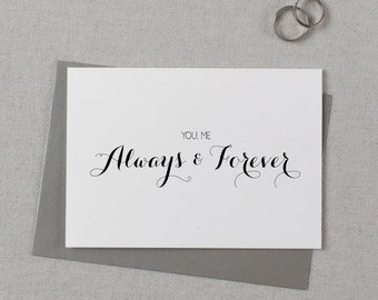 You + Me, Always + Forever, It Was Always You, Wedding Card to Bride or Groom, Wedding Day Card, Wedding Cards, To My Groom Card, K6