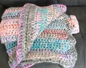 Pretty in pastel throw blanket, crochet pink blanket, light green, blue and peach blanket