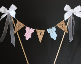 Gender reveal cake topper - baby shower cake topper, Gender reveal cake bunting, boy or girl cake banner, cake flags, gender reveal party