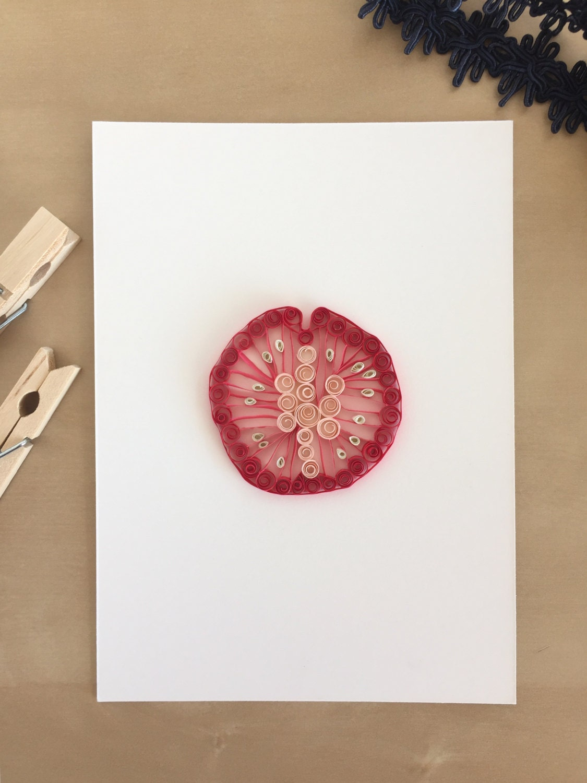 quilling paper tomato slice for home decor vegan art