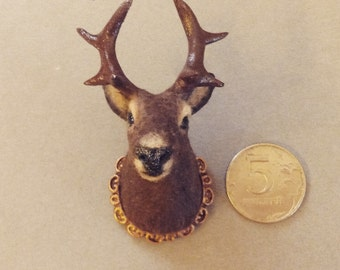 Dollhouse miniature 1:12 stuffed deer head