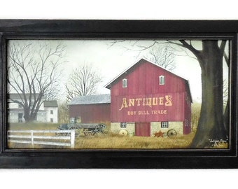 Antique Barn, Farm Picture, Billy Jacobs Barn, Art Print, Country, Primitive, Wall Hanging, Handmade, 21X12, Custom Wood Frame, Made in USA