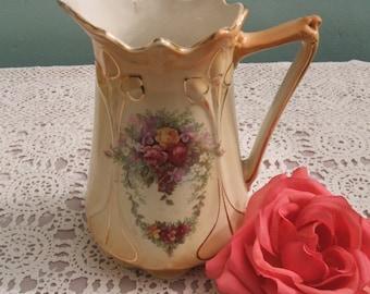 Art Nouveau Jug - Edwardian Jug - Victorian Jug - Pitcher - Roses - Flowers - c.1910