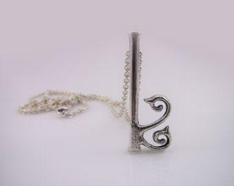 Sterling Silver Discreet Day Collar / Slave Necklace - Locking Chain w/ Gorean Kef / Kajira Pendant - Sized to Order