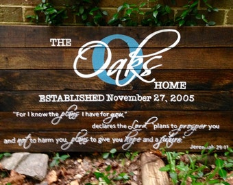 Name/Established with Jeremiah 29:11 Large, Wiod Sign, Reclaimed Wood Sign