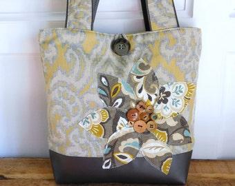designer tote diaper bags 4lhm  Yellow Handbag for Women, Floral Handbag, Designer Tote Bag, Grey Handbag,  Over the Shoulder Bag, Yellow Tote Bag, Work Tote Purse for Women