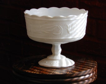 White Milk Glass E.O. Brody M6000 Compote