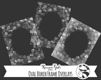 Oval Bokeh Frame Overlay Clip Art Set - Personal & Commercial Use