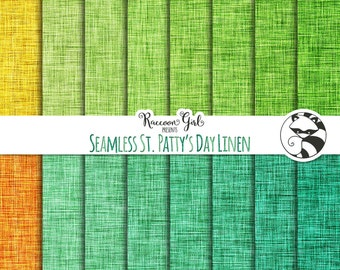 50% OFF Seamless St. Pattys Day Linen Digital Paper Set - Personal & Commercial Use