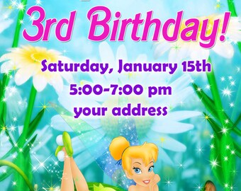 Tinker bell Birthday Invitation, fairy birthday invitation, Tinkerbell Birthday Invitation  - Digital file