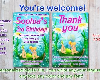 Tinker bell Birthday Invitation, fairy birthday invitation, Tinkerbell Birthday Invitation  - Digital file