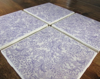 Set of Four Purple Coasters
