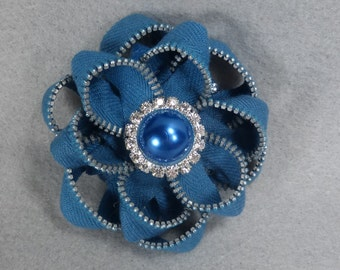 Blue Zipper Flower Pin / Brooch with Sparkly Button