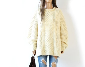 Sweater Knit WOOL Hand  Made  oversize Chunky cable knit Large
