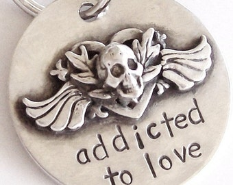 Sterling Silver Dog ID Tag Pet ID Tag - Skull, Flames, Winged Heart Pet Tag, Dog ID Tag - Addicted to Love - Collar Charm