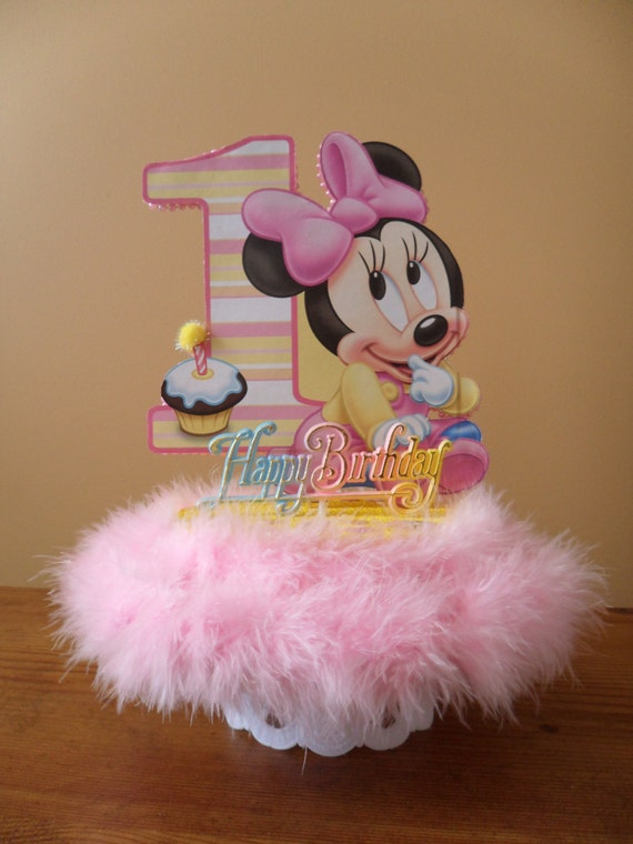Baby minnie mouse cake topper 1st first birthday party table for Baby minnie mouse party decoration