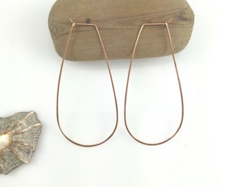 Elongated Hoops in Gold Filled, Rose Gold and Sterling Silver