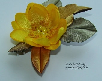 Wedding hair/dress accessories, flower clip and pin, floral hairpiece, bridal hair accessory,yellow  color flower .