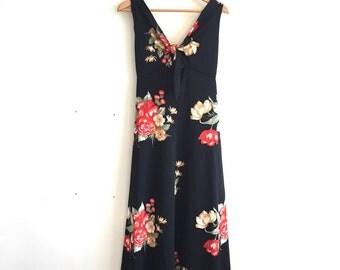 vintage 1990s floral print maxi dress