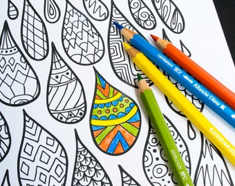 Patterned Drops Coloring Page - Adult Coloring Page - Kids Coloring Page