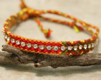 Woven cotton friendship bracelets with fake diamond artificial(yellow,red,green,brown)