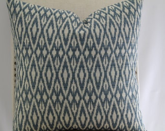 Designer/Diamond Ivory/Lt Blue print,18x18Pillow Cover, Throw Pillow,Decorative Pillow,Same Fabric On Both Sides