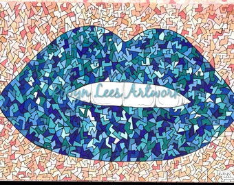 Freaky Craquelure Lips Artwork Print in Blues, Graphic Illustration Art in Ink and Pencil