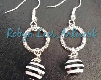 Antiqued Silver Loop Hoop Earrings with Black & White Stripe Beads on Silver Hooks