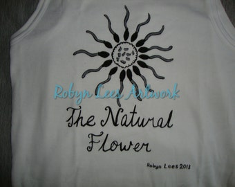 The Natural Flower Vest Top or T-Shirt, Human Nature Floral Art Artwork Print Top, White Cotton