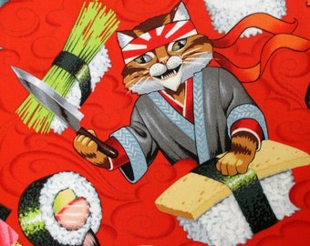 Fabric, Sushi Chef Kitty Cats, Rockin Rolls in Red, Alexander Henry, By the Yard