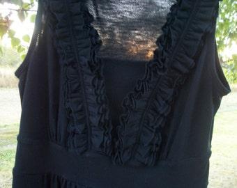 Retro 90s Navy Blue COTTONY Blend RUFFLES BODICE Sleeveless Flowing Soft Knit Dress, S