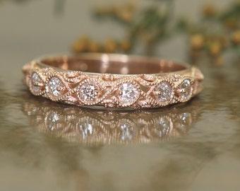 Bespoke Diamond Wedding Band in 14k Rose Gold, 0.24ctw Round Brilliant Cut Diamonds, Scroll, Beaded Milgrain, Euro Shank, Fatima B